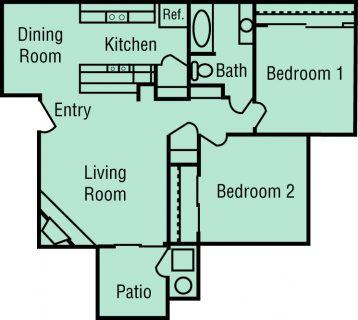 2 Bed / 1 Bath / 867 sq ft / Deposit: $400 / 1540-1600