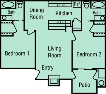 2 Bed / 2 Bath / 946 sq ft / Deposit: $400 / 1645-1705